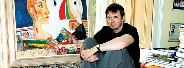 Rankin with painting by John Bellany