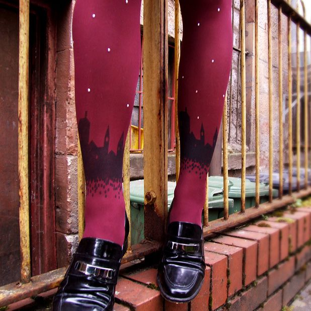 Tights for Sore Eyes make hand-printed hosiery