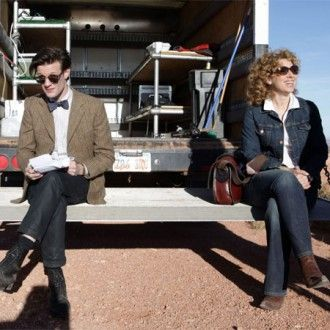 Alex Kingston and Matt Smith on Doctor Who set