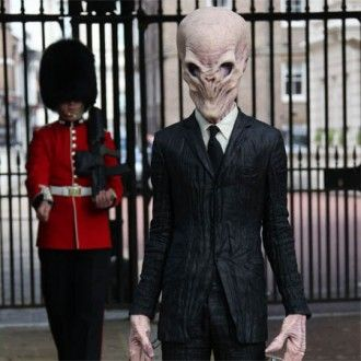 One of Doctor Who's most terrifying enemies, The Silence, stands behind an unsuspecting Welsh Guard in Pall Mall, ahead of their arrival at the highly-acclaimed Doctor Who Experience at London's Olympia 2 venue.