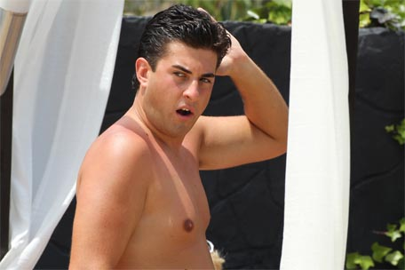 Arg flaunting his flabby physique in Marbella