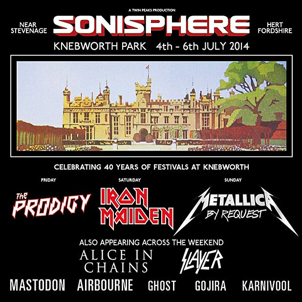 Airbourne, Alice In Chains, Ghost, Gojira, Karnivool, Mastodon and Slayer added to Sonisphere 2014 lineup
