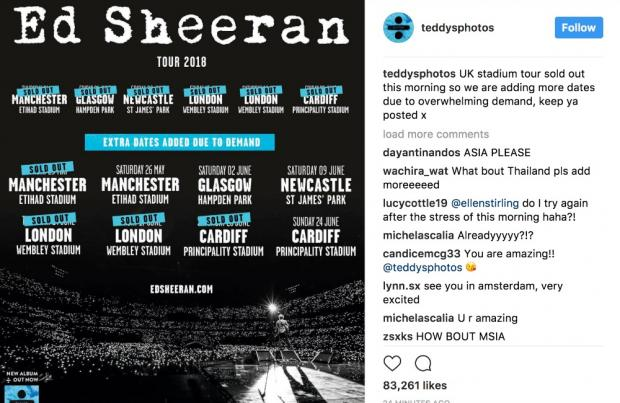 Ed Sheeran Sells Most Tickets By One Artist In A Day