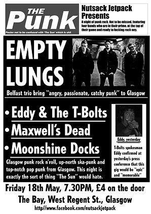 Empty Lungs, Eddy & the T-Bolts, Maxwell's Dead and Moonshine Docks
